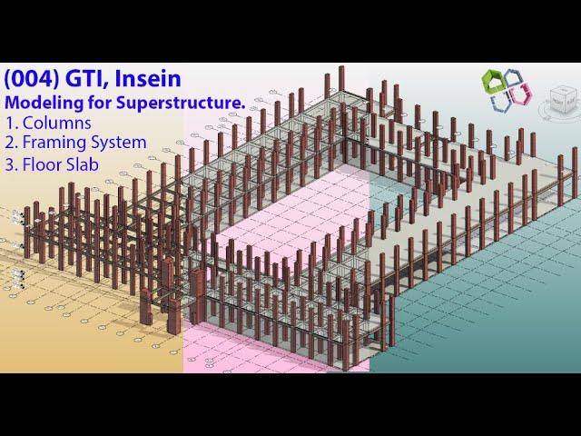 BIM: (004) GTI Insein Main Building 3D BIM Model (Part-4) Floor Slabs and Structural Framing - видео