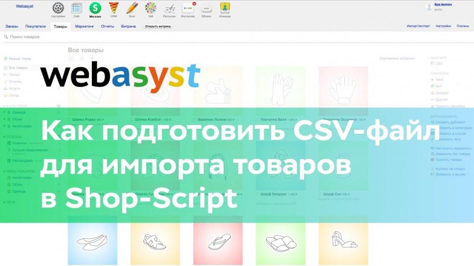 Webasyst: Как подготовить CSV-файл для импорта товаров в Shop-Script - видео