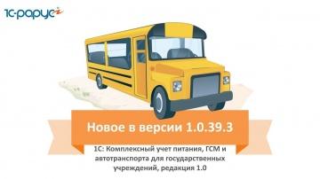 Обзор изменений в 1С: Комплексный учет питания, ГСМ и автотранспорта для госучреждений (релиз 1.0.39