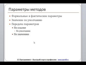 Разработка 1С: Параметры методов Глава 5 -Основы разработки в платформе 1С Предприятие 8 - видео